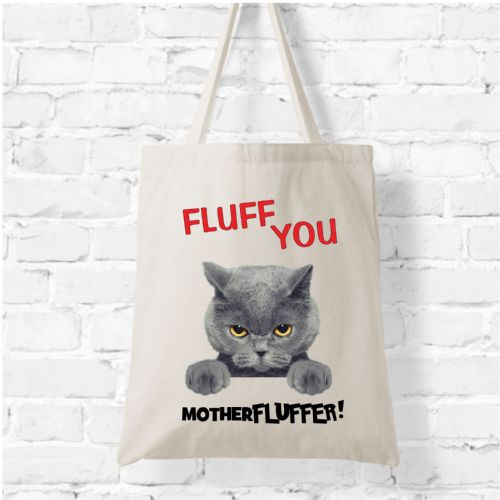 Natural Soft Tote Bag N3 - Fluff You Mother Fluffer Cat Bag